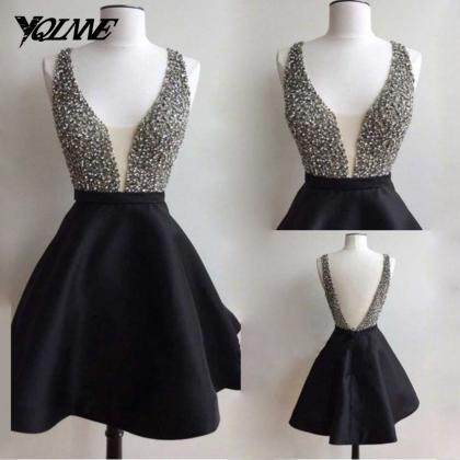 Black Short Prom Dresses,Beaded Pro..