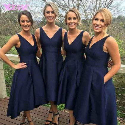Navy Blue Prom Dresses,High Low Pro..