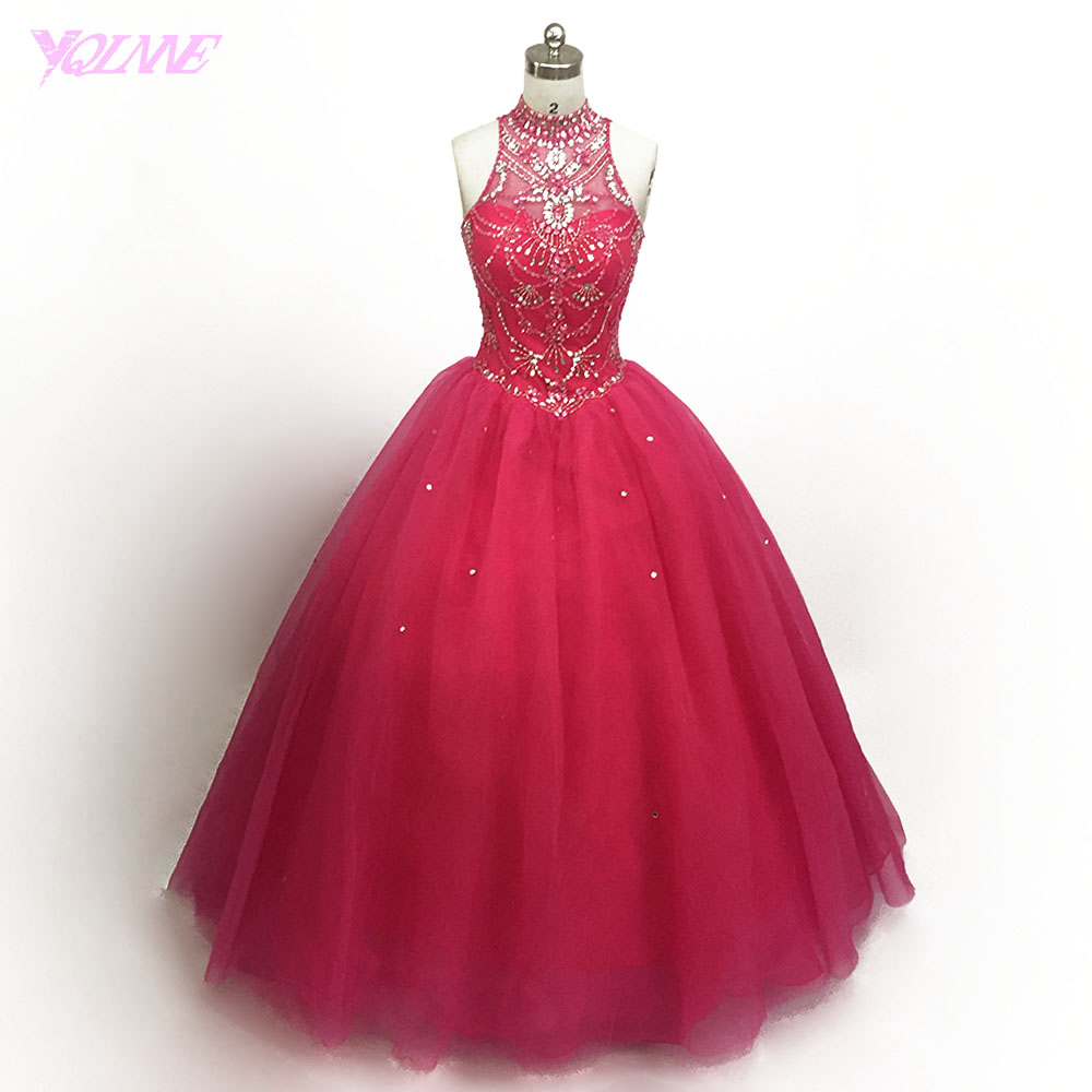 Real Photos Super Pink Crystal Beaded Quinceanera Gowns Dresses Ball ...