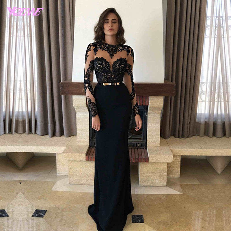 Black Prom Dresses Long Sleeves Evening Dress Party