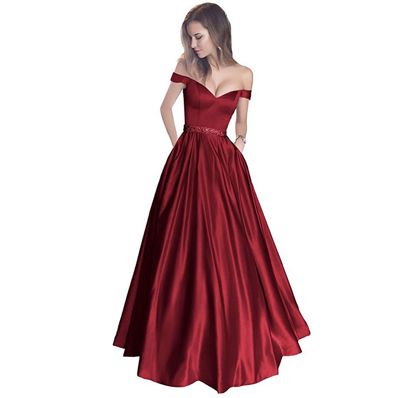 Wine Red Dresses,Prom Dresses,Evening Gown,Off the Shoulder Dresses,Aline Dress,Satin Dress