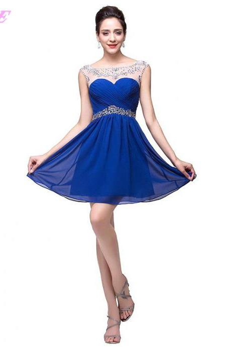 Sexy Prom Dresses,Short Prom Dresses,Royal Blue Prom Dresses,Crystals Prom Dress,Chiffon Prom Dresses,Mini Prom Dresses,Backless Prom Dresses