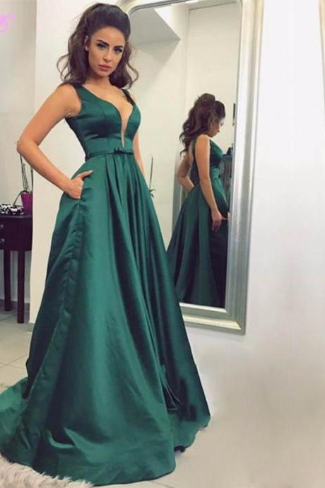 Green Prom Dresses,Prom Gown,Evening Dress,Formal Dress,Elegant Dresses,Satin Dress,Long Prom Dress,Aline Prom Dress