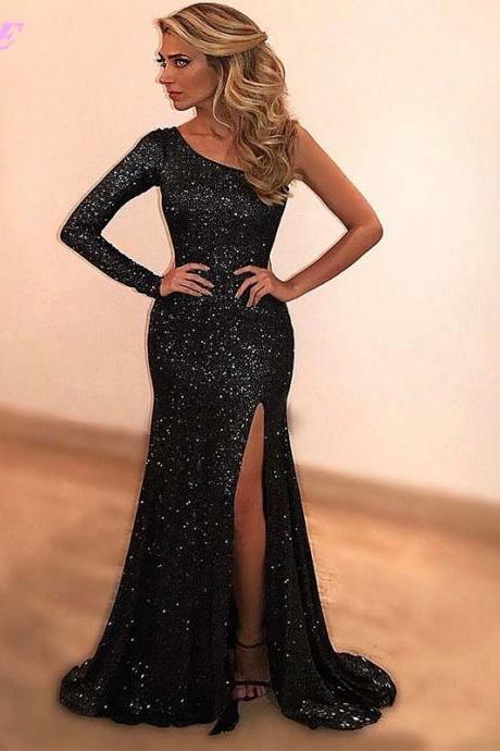 Sexy Prom Dresses,Prom Gown,Black Prom Dresses,One Shoulder Dress,Mermaid Prom Dresses,Slit Prom Dresses,Fashion Dresses,Evening Gown,Red Carpet Dress