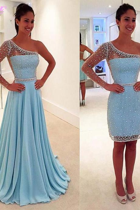 Light Blue Prom Dresses,Crystals Prom Dresses,One Shoulder Prom Dresses,Long Sleeve Prom Dress,2 in 1 Prom Dress,Detachable Train Dress,Fashion Dresses