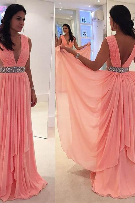 Prom Dresses 2017,Coral Prom Dress,Prom Gown,Deep V-Neck Prom Dresses,Long Prom Dresses,Chiffon Prom Dress,Sxey Party Dress