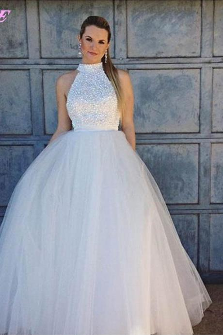 White Prom Dresses,Ball Gown Prom Dresses,Prom Gown,Evening Dress,Crystals Prom Dress,Runway Fashion Dresses,Red Carpet Dress,Tulle Dress