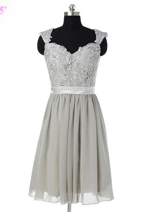 Short Bridesmaids Dresses,Chiffon Bridesmaids Dresses,Lace Bridesmaids Dresses,Gray Bridesmaids Dresses,Wedding Party Dress,Knee Length Dress