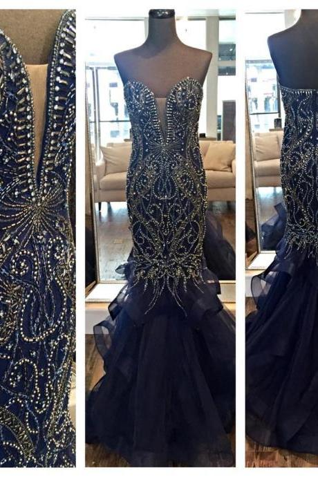 Luxury Prom Dress,Prom Gown,Evening Dress,Mermaid Prom Dresses,Sweetheart Prom Dress,Organza Dress,Navy Blue Prom Dress,Fashion Dresses,Evening Gown