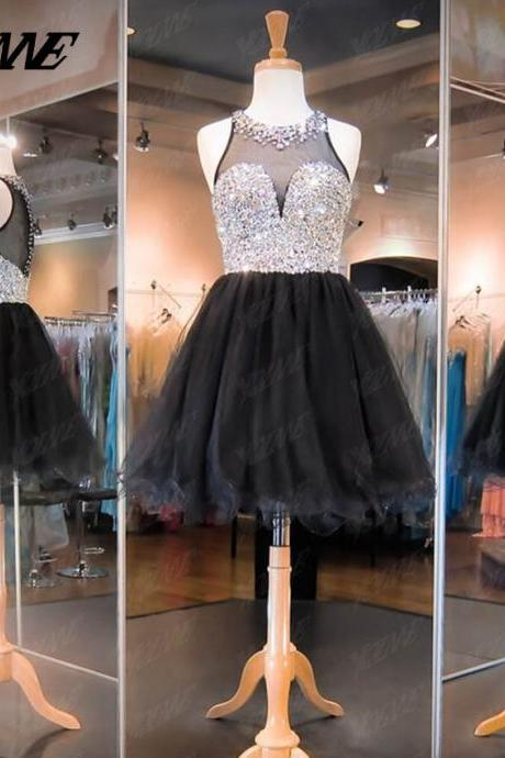 Black Homecoming Dresses,Crystals Homecoming Dresses,Short Homecoming Dresses,Party Dresses,Tulle Homecoming Dress
