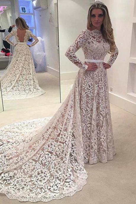 Lace Wedding Dress,Full Sleeve Wedding Dress,Bridal Dresses,Wedding Dresses,Bridal Gowns,Ivory Wedding Dress,Backless Wedding Dress,Fashion Dresses