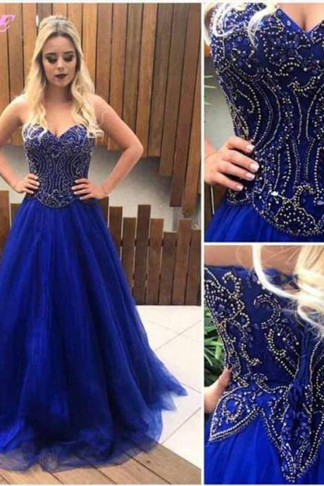 Sweetheart Prom Dress,Royal Blue Dresses.Crystals Prom Dresses,Lace-up Prom Dress,Long Party Dress,Beading Dresses,Evening Gown