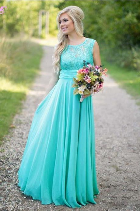 Mint Long Chiffon Bridesmaids Dresses Elegant Wedding Party Dress