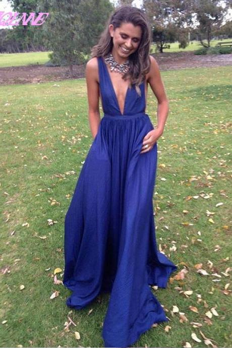 Sexy Deep V Neck Prom Dresses Long Royal Blue Evening Gown Fashion Dress