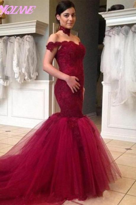 Elegant Wine Red Off the Shoulder Evening Dress Mermaid High Neck Lace Tulle Formal Women Gown