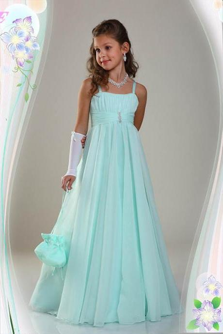 Mint Green Chiffon Flower Girls Dresses Long Weddding Party Dress