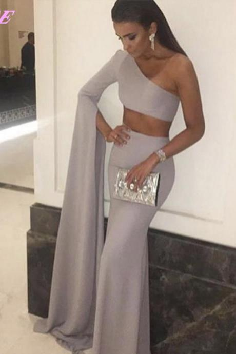 Fashion Long Sleeve Prom Dresses One Shoulder Evening Gown Two Pieces Party Dress Gray
