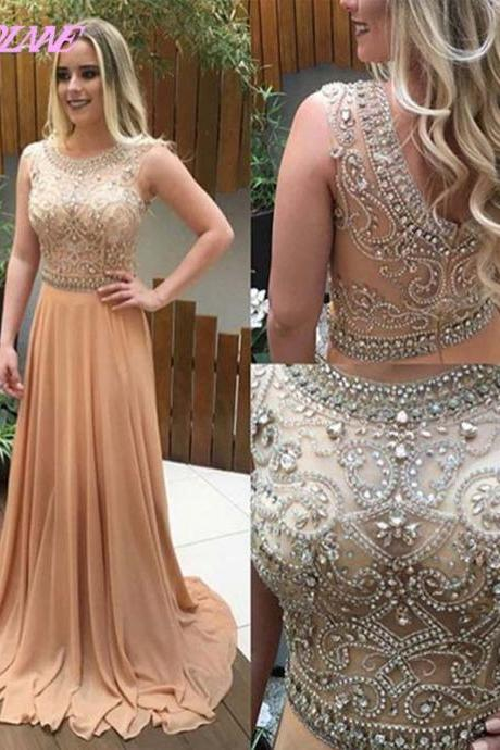 Champagne Rhinestones Prom Dresses Long Chiffon Evening Gown