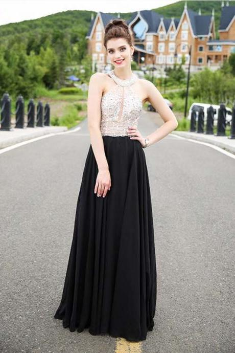 Black Halter Crystals Prom Dresses Chiffon Evening Gown