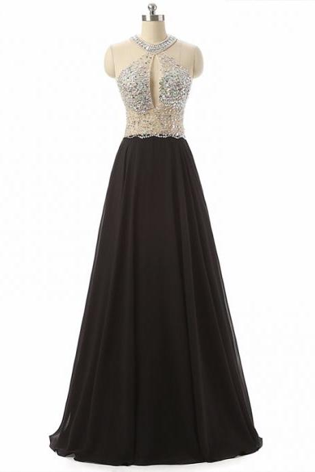 2017 Black Chiffon Crystals Prom Dresses Halter Backless Long Party Dress