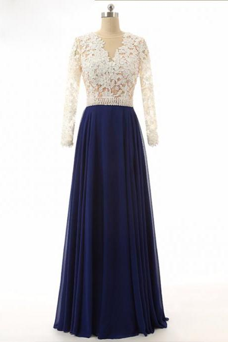 Royal Blue Lace Chiffon Prom Dresses Long Women Evening Gown Full Sleeve