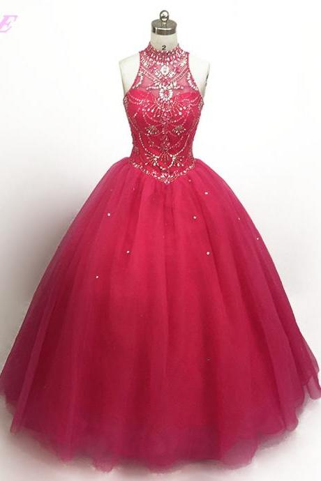 Real Photos Super Pink Crystal Beaded Quinceanera Gowns Dresses Ball Gown Sweetheart Tulle Lace-up Sweet 16 Dress For 15 Years