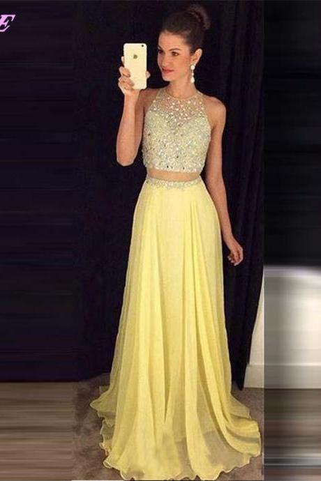 Two Pieces Crystals Prom Dresses Chiffon Party Dress