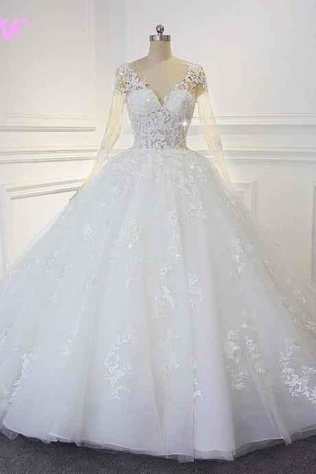 White Ball Gown Wedding Dress Full Sleeve Bridal Dresses V Neck Lace Appliques Lace- up