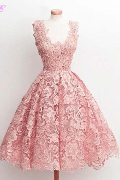 Blush Pink Lace Prom Dresses Ball Gown Tea Length Party Dress