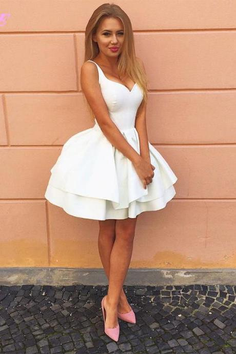 Sexy White Short Prom Dresses Mini Party Dress Satin