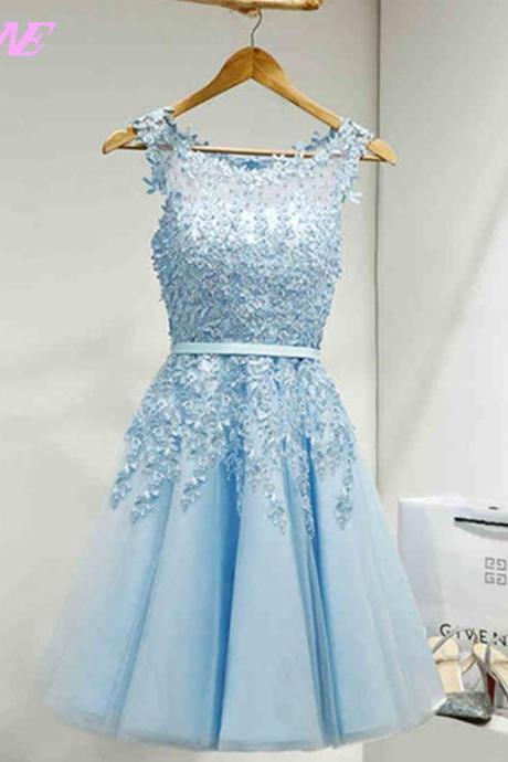 Sky Blue Short Homecoming Party Dresses