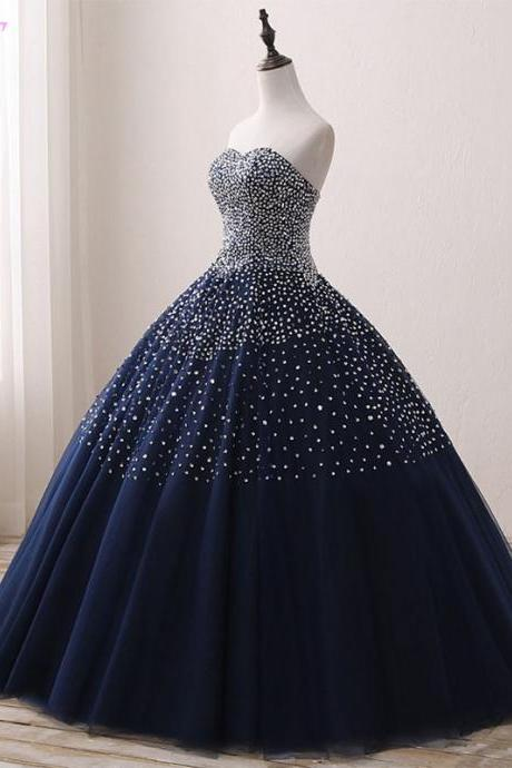 Real Photos Navy Blue Crystals Beaded Prom Dresses Ball Gown Quinceanera Dresses Tulle