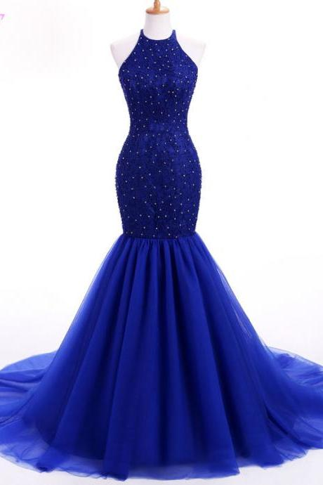Royal Blue Mermaid Prom Dresses Long Evening Party Gown Halter