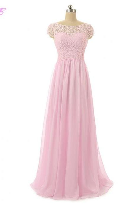 Pink Long Bridesmaid Dresses Lace Chiffon Wedding Party Dress Floor Length