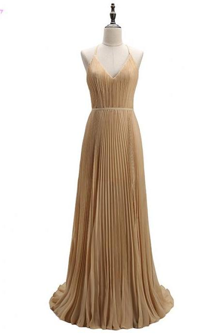 Champagne Chiffon Pleated Plunge V Floor Length A-Line Formal Dress Featuring Criss-cross Back