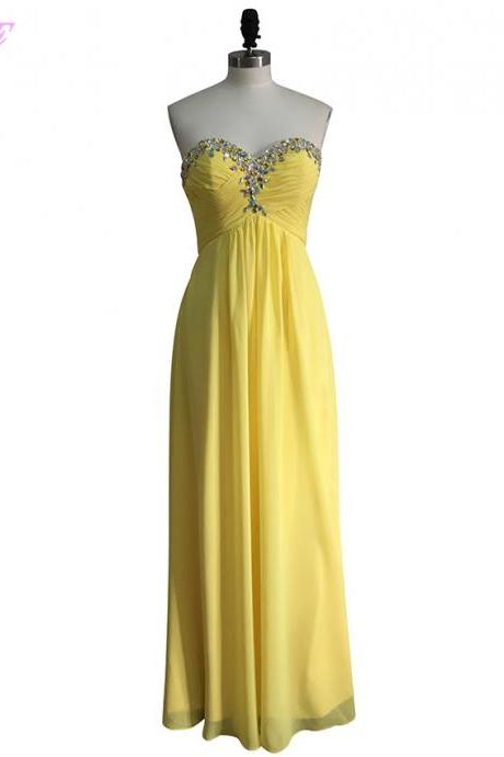 Yellow Beaded Embellished Ruched Sweetheart Floor Length A-Line Formal Dress, Prom Dress
