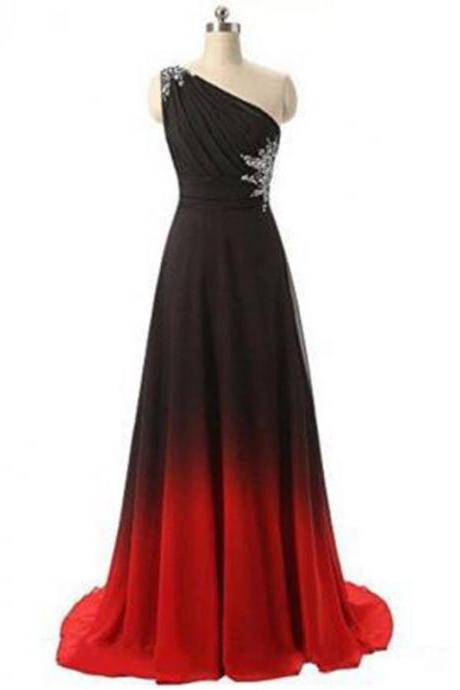 Gradient Chiffon Prom Dresses,One Shoulder Prom Dress,Long Evening Dress,Red Dresses
