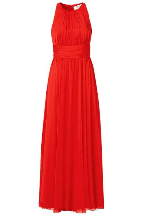 Red Chiffon Crew Neck Sleeveless Floor Length A-Line Formal Dress, Bridesmaid Dress, Prom Dress