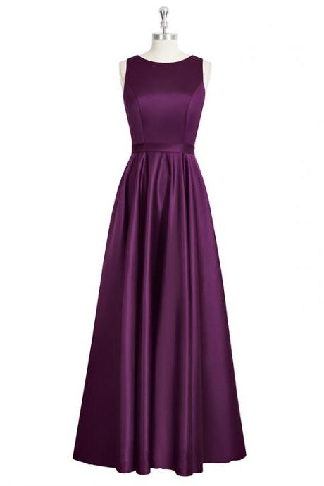 Purple Satin Crew Neck Sleeveless Floor Length A-Line Formal Dress Featuring Open Back, Prom Dress, Bridesmaid Dress