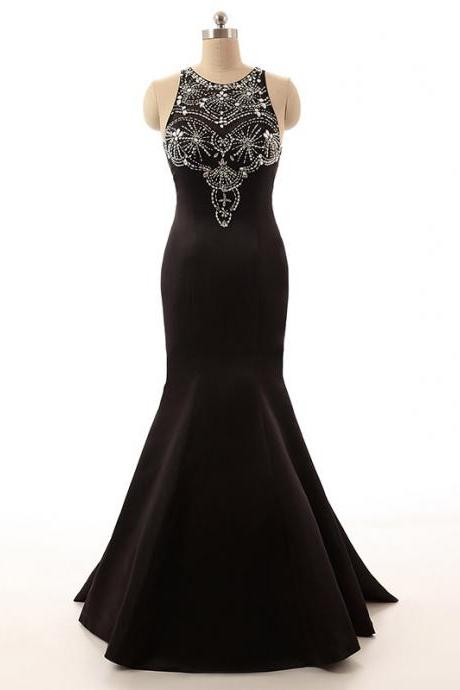 Crystal Embellished Black Satin Crew Neck Halter Floor Length Mermaid Dress, Formal Dress, Prom Dress