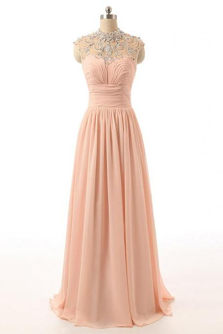 Crystal Embellished Peach Chiffon High Neck Sleeveless Floor Length Formal Dress, Prom Dress
