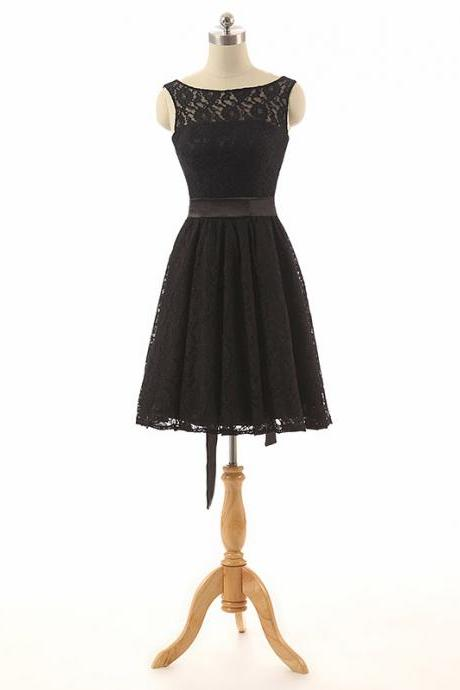 Black Lace Bateau Neck Sleeveless Short Pleated Dress Featuring Bow Accent, Formal Dress, Homecoming Dress