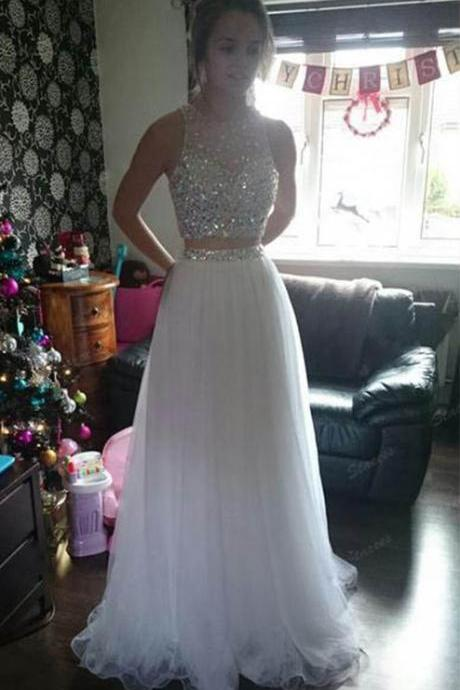 White Two Pieces Prom Dresses Long Crystals Tulle Party Dress