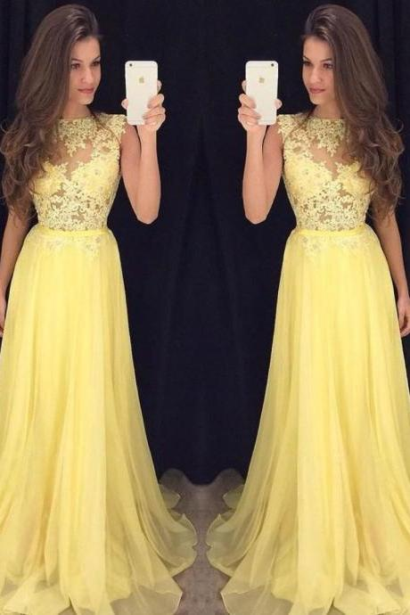 Yellow Lace Chiffon Prom Dresses Long Party Dress