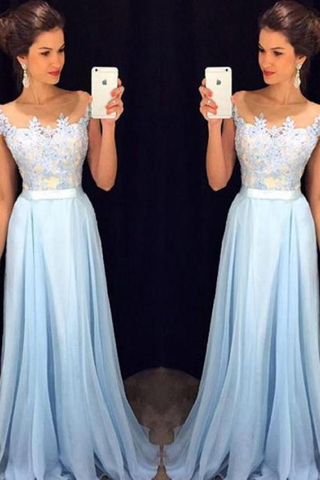 Sky Blue Long Prom Dresses Elegant Lace Chiffon Party Dress
