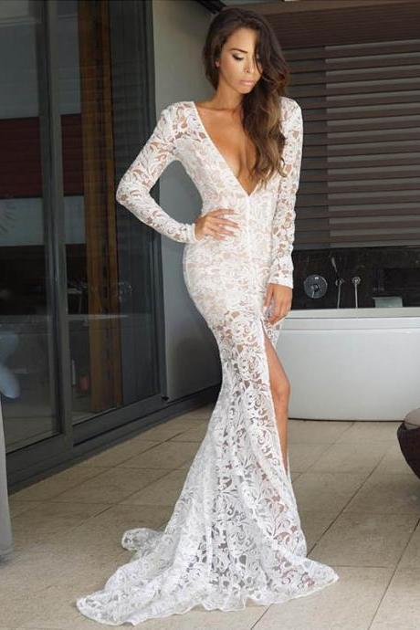 Sexy Deep V Neck Lace Slit Mermaid Evening Dress Full Sleeve Women Dress