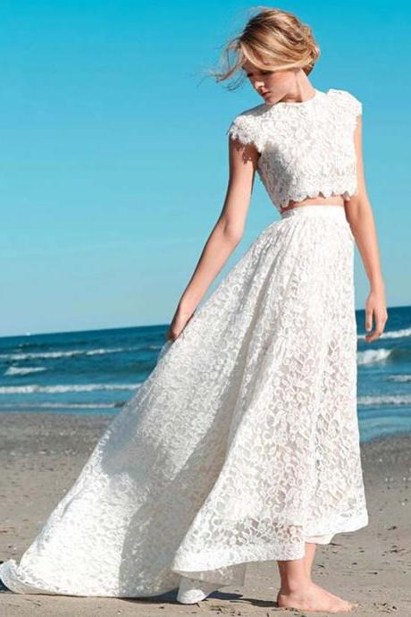 Romantic Two Pieces Beach Wedding Dress Lace Bridal Gown High Low Dresses