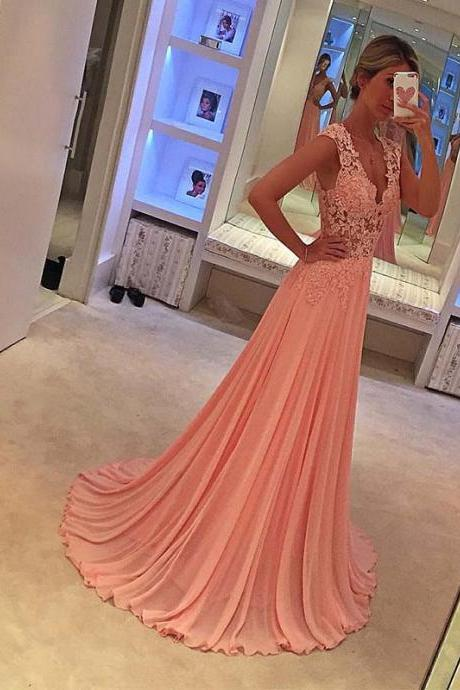 Hot Pink Long Chiffon Prom Dresses Lace Party Dress