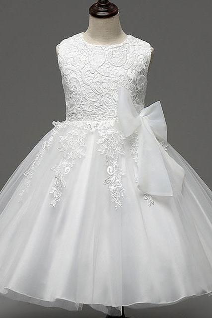 Sweet White Ball Gown Flower Girls Dresses Lace Tulle Kids First Communion Dress