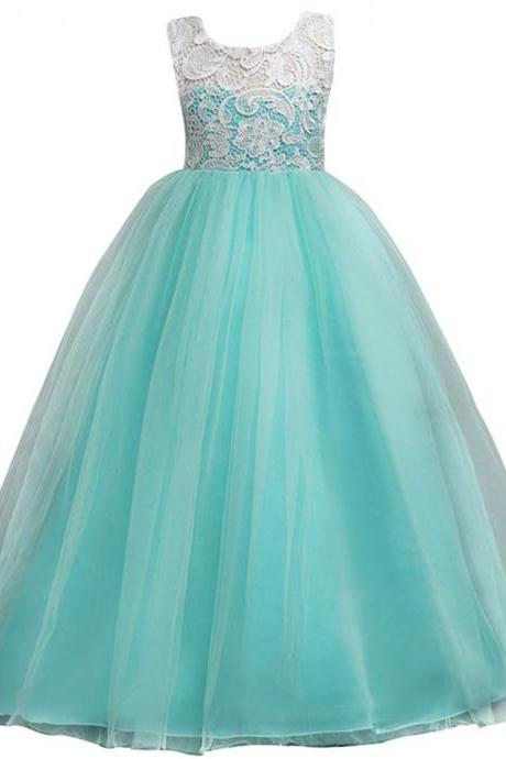Mint Tulle Ball Gown Flower Girls Dresses Kids First Communion Dress